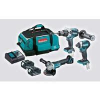 Makita 18V LXT Brushless 3 Piece Hammer Drill / Impact Driver / Grinder Kit