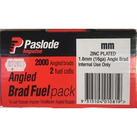Paslode Impulse Angle Brad 45mm x 1.6mm with Gas Zinc Plated B20745 2000 Pack