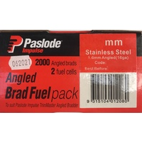 Paslode Impulse Angle Brad 45mm x 1.6mm with Gas Stainless Steel B20774 2000 Pack