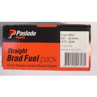 Paslode Impulse ND Straight Brad Zinc Plated 62mm x 2.0mm with Gas B20645 2000 Pack