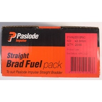 Paslode Impulse ND Straight Brad 50mm x 2mm with Gas Stainless Steel B20665 2000 Pack